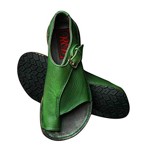 Vaugan Damen Sandalen mit Schnalle, Riemen, flacher Absatz, Sommer, Strand, Reisen, Ballenzeh-Korrekturschuhe