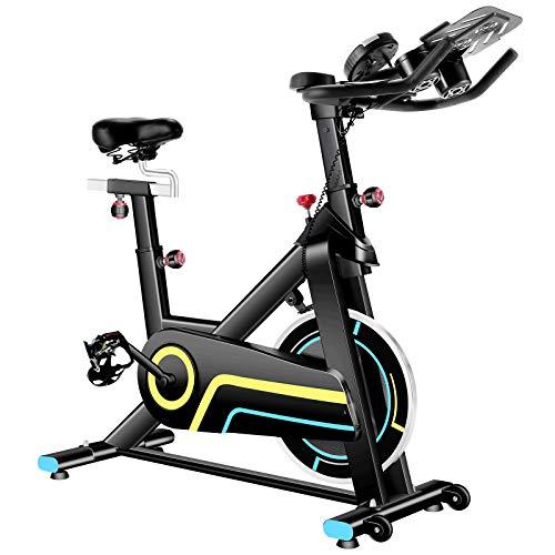 ANCHEER Cyclette da Interni per Fitness, Bici da Spinning con Volano Magnetron, App di Connessione, Resistenza e Altezza Regolabili, Supporto per Il Gomito, Cyclette Aerobiche, Portata Massima 120 kg