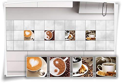 Medianlux Fliesen-Aufkleber Fliesen-Bild Kaffee Cappuccino Latte-Macchiato Espresso Kaffeebohnen Küche Deko Folie Cofe, 15x15cm