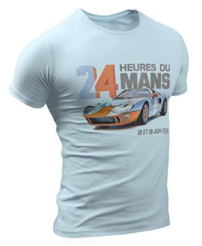 Vintage Ford GT-40 Lemans Racing Herren T-Shirt #3035 (M, Lichtblau)