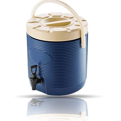 Kerafactum Thermo Getränkespender Heissgetränkespender mit Zapfhahn mobil auch für Kalt verwendbar | mit Hahn zum zapfen für Getränke | Thermogetränkespender Getränkekühler 12 Liter Blau