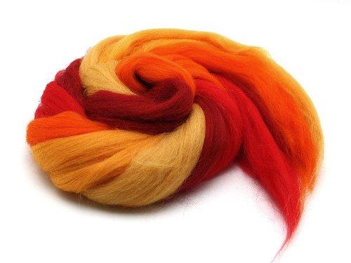 Filzwolle/ Bunt, gemischter Merinokammzug in Gelb / Rot 100 g
