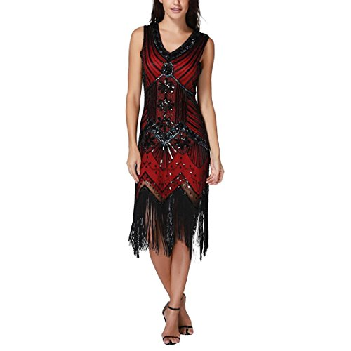 VENMO Frauen V Neck Tassel Pailletten Jugendstil verschönert Fransen Flapper Dress Frauen Retro 1920s Flapper Kleider Ohne Ärmel Zwanziger Jahre Große Gatsby Mottoparty Damen Kostüm Kleid (Red, L)
