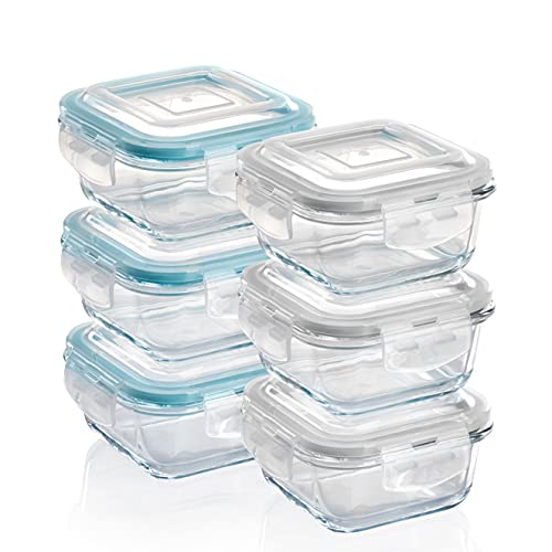 Grizzly Contenitore per Alimenti in Vetro – Set da 6 – capacità 320 ml – Quadrato Adatti per Forno - Frigo e Congelatore – Ermetico Anti Perdite – Lavabile in Lavastoviglie - Senza BPA