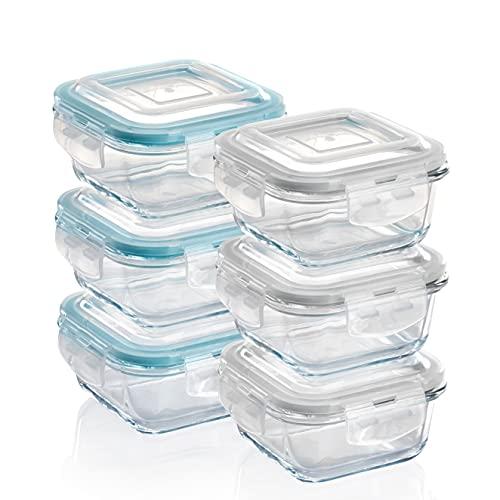 GRIZZLY Contenedores de Almacenamiento de Vidrio para Alimentos - 6 x 320 ml cuadrado