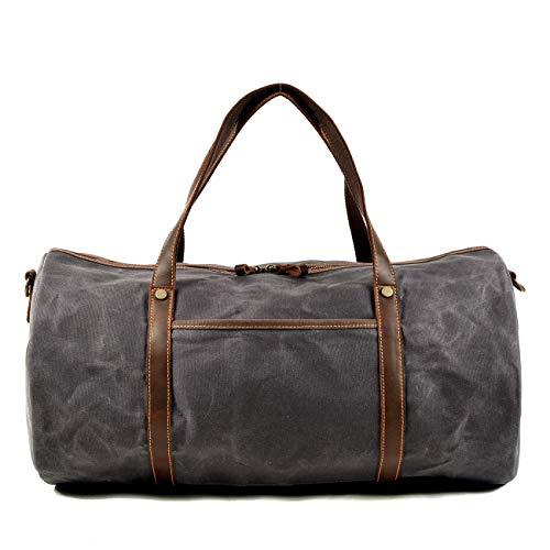 MxZas Overnight Weekend Bag Travel Duffel Bag Canvas Overnight Bag Waterproof Luggage Gym Sport Shoulder Handbag Crossbody Bag Carry On Bag (Color : Gray, Size : 52x28x28cm)