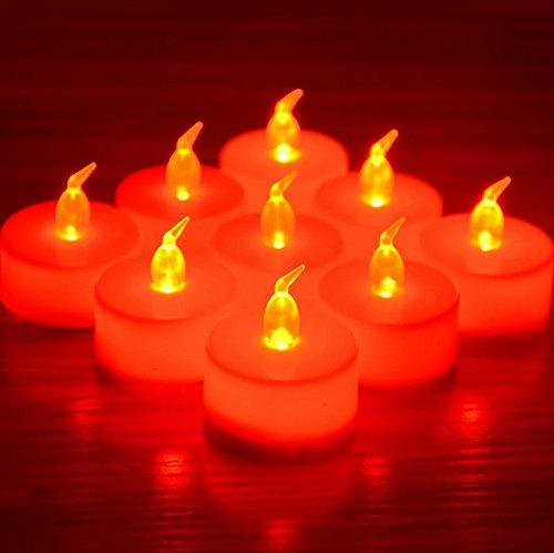 12x LED flackernde Kerzen, flammenlose Teelichter für die Dekoration von Festen und Hochzeiten, mit Batterien, mit gratis Batterien, von RICISUNG rot
