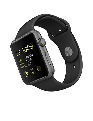 Apple Watch orologio sportivo in Alluminio Argento 42 mm e Bracciale Nero Sport Prima Generazione