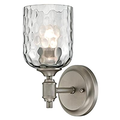 Westinghouse Lighting 6326400 Basset Three-Light Indoor Wall Fixture, Dark Pewter Finish with Smoke Grey Hammered Glass 3