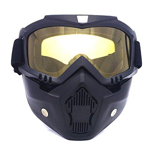 HCMAX Motocicleta Gafas de Protección con Máscara Facial Desmontable Estilo...
