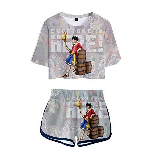NLJ-lug Una pieza Deportes Niñas Dos Piezas Conjuntos Anime Jersey Figura Camisetas Pantalones Cortos, S