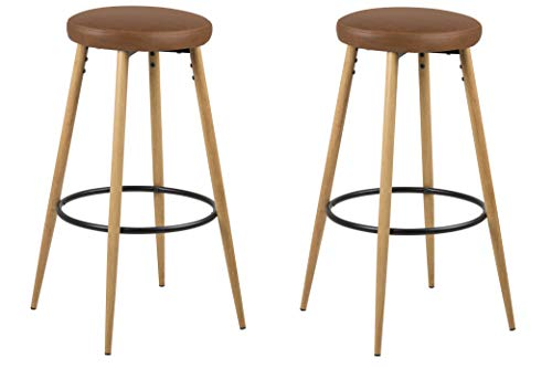 Amazon Brand - Movian Tarna - Juego de 2 taburetes de bar, 41 x 41 x 77cm, marrón