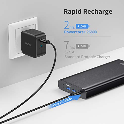 CHOETECH Portable Charger 26800mAh 100W PD 3.0 USB-C Power Bank with a USB-C Port (Input 60W Output 100W) 2 QC 3.0 USB-A Ports (18W) for Laptop, MacBook/iPad Pro/Air, iPhone 12, Galaxy, and More