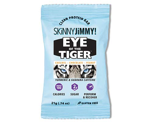 Skinny Jimmy! Eye of The Tiger Bar, Caramel Chocolate Peanut, Under 100 Calories Mini Protein Bar with Guarana Caffeine and Turmeric, 24 Count