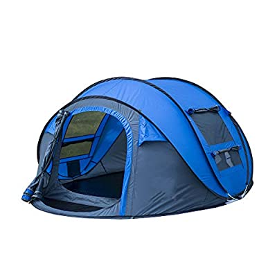 Weanas Easy Pop Up Tents, Instant Automatic 4 Person Family Camping Tents Easy Quick Setup Dome Popup Tents for Camping, Hiking and Traveling with Carrying Bag (Dark Blue)