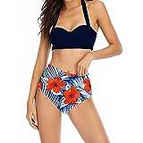 Pas Cher Maillot de Bain Femme 2 Pieces Taille Haute,Bikini Grande Taille Sexy Mode Chic Impression Push Up Dos Nu Vintage Ete sans Armature Soutien-Gorge +Shorts Swimsuit Swimwear