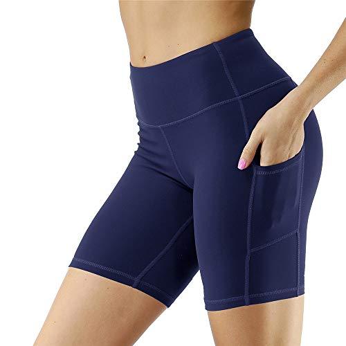Mujer Mallas Shorts de Yoga, Verano de las mujeres de talle alto flaco flexión de la energía de secado rápido pantalones cortos de yoga entrenamiento Correr Pantalones Activewear calientes con bolsill