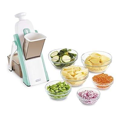 DASH Safe Slice Mandoline Slicer, Julienne + Dicer for Vegetables, Meal Prep & More with 30+ Presets & Thickness Adjuster, Presets, Aqua