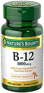 Nature's Bounty Natural Vitamin B12, 1000mcg, 100 Tablets (Pack of 2)