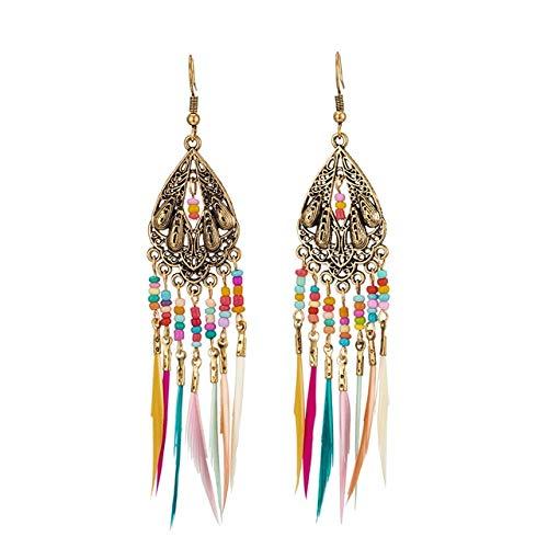 Golden Silver Color Vintage Étnico Largo Pluma Borla Colgar Pendientes De Gota para Las Mujeres Femeninas Indian Joyería Accesorios