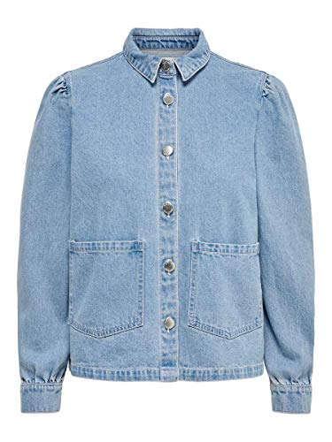 ONLY Damen ONLRIZZ LS MB Shirt DNM Jacket York Jeansjacke, Light Blue Denim, 38