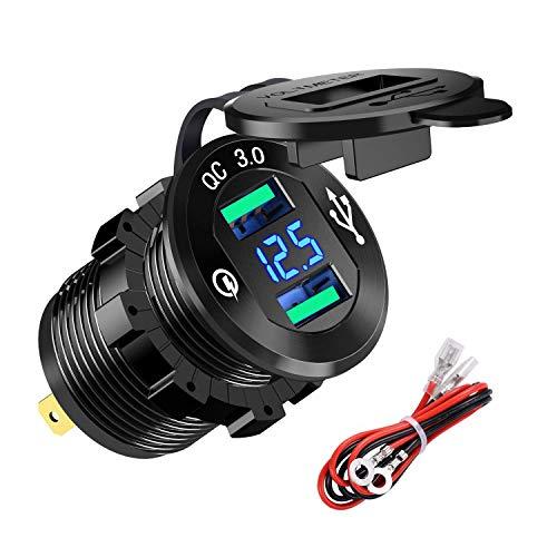 YGL Presa USB per Auto e Moto 12V/24V,2 Porte Caricabatterie USB QC3.0, Presa USB Impermeabile con Voltmetro LED Display Digitale per Moto, Auto, Camper, Camion, Barche e Molto Altro Ancora(Nero)
