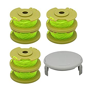 YUEFENG 6 Pack String Trimmer Replacement Spools Compatible with Ryobi One Plus+ AC80RL3 - for Ryobi 18v 24v 40v Cordless Trimmers 11ft 0.080 Inch Twisted Line + 1 Pack Spool Cap  6 Spools 1 Cap