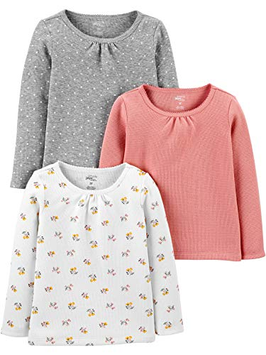 Simple Joys by Carter's Multi-Pack Long Sleeve Shirts Camisa, Rosa, Floral, 5 años, 3