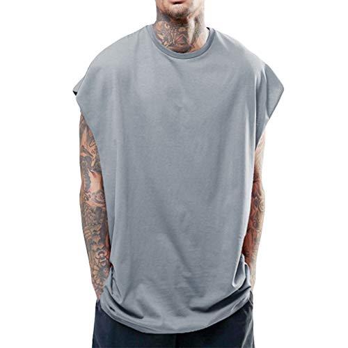 Camiseta de tirantes básica para hombre, sin mangas, monocolor, para verano, ligera, para gimnasio, culturismo, informal, con cuello redondo, para hombres y niños gris XL