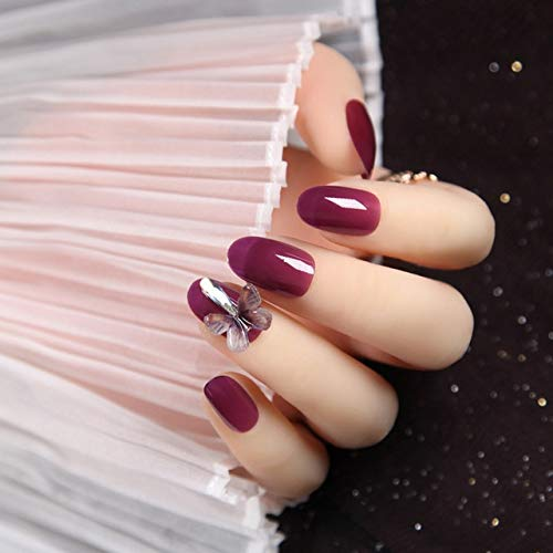 rpbll 24pcs/box Fairy Girls Wearable Fake Nails Transparent Purple Crystal Three-dimensional Butterfly Mid-length Detachable nail set as show