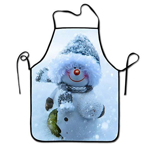 AOOEDM Apron Sonriente muñeco de Nieve de pie en la Nieve -1 Delantal de Cocina Lindo para Adultos, fácil de Limpiar