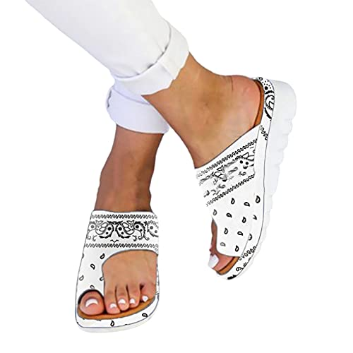 Jeauseul Slippers Shoes for Womens Orthopedic PU Leather Sandals Bunion Correction Slippers Casual Toe Separate Flat Shoes with Arch Support (C-White, 10)