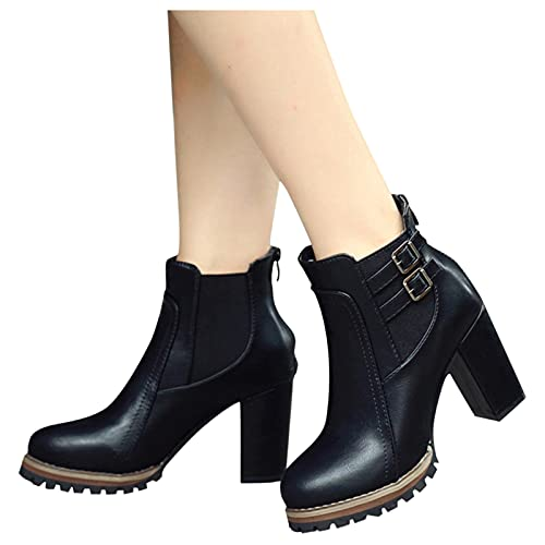 Aniywn Women's Chunky High Heels Ankle Boots Strappy Buckle Round Toe Slip...
