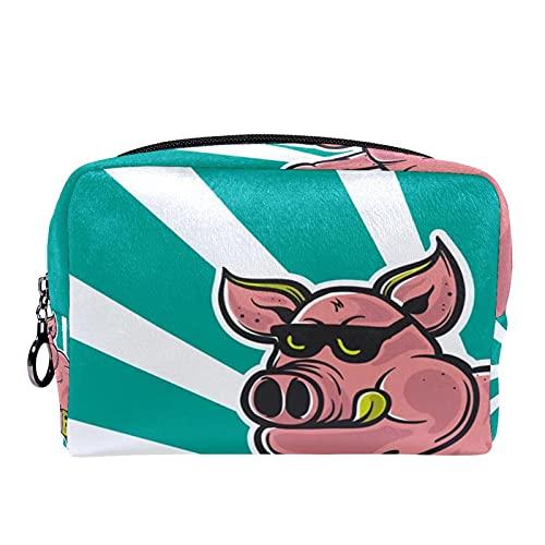 Trousse de maquillage Sacs à cosmétiques de voyage portables, planche à roulettes de cochon