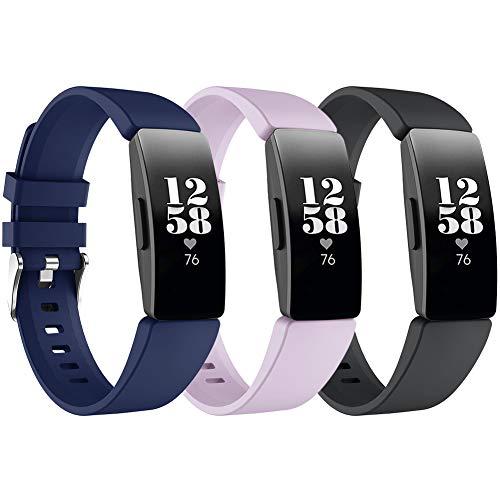 Ansblue-Gurt Kompatibel mit Fitbit Inspire HR/Fitbit Inspire/Fitbit Ace 2, verstellbares Sport-Ersatzarmband aus weichem Silikon, wasserfeste Fitness-Gurte Multi Color für Frauen Männer Groß Klein