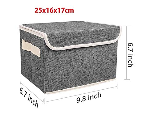 PUK New Washable cotton linen Storage Box With lid Clothes Socks Toy Snacks Sundries organizer Cosmetics storage basket,26x16x17cm
