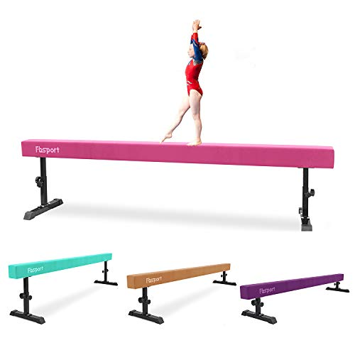 FBSPORT Balance Beam: Folding Floor Gymnastics Equipment for Kids Adults,Non Slip Rubber Base, Gymnastics Beam for Training, Practice, Physical Therapy and Professional Home Training (Pink, 8)