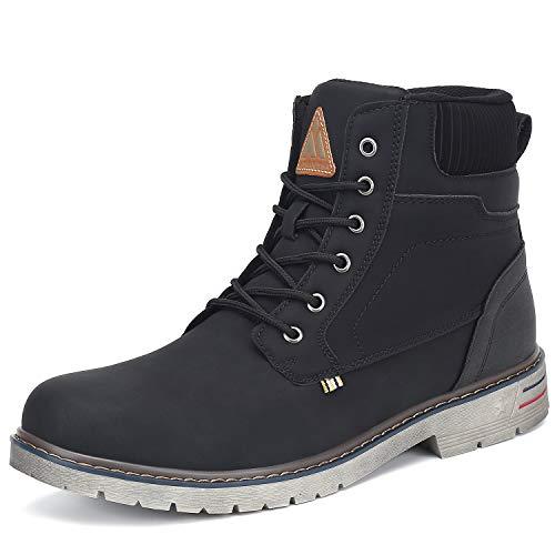 Mishansha Men's Women's Hiking Boots Shoe Outdoor Non Slip Leather Ladies Mid Trekking Shoes Waterproof Casual Walking Lightweight Wok Boot Black