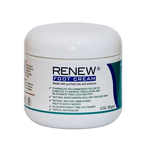 Renew Foot Cream for Diabetics - Revitalize Dry, Cracked Feet & Help Promote Better Circulation, Paraben Free All Natural, Made with Purified Oils and Extracts