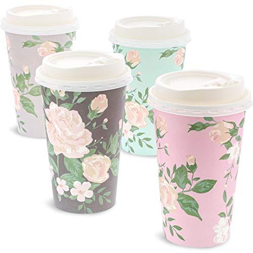 Juvale 24 Pack Vintage Bloemen Papier Geïsoleerde Koffie Bekers met Deksels, 4 Ontwerpen, 16 Ounces