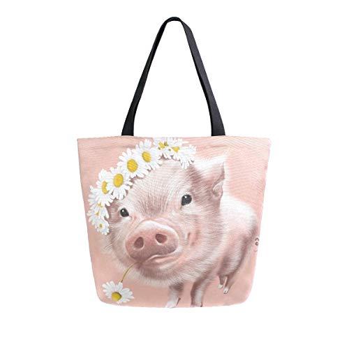 AHYLCL Lovely Pig Flower Daisy Tote Bag Canvas Shoulder Bag Reusable Large Multipurpose Use Handbag for Work School Shopping Outdoor