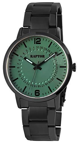 Raptor Herren-Uhr Edelstahl Gliederarmband Leuchtende Zeiger Analog Quarz RA20298 (schwarz/grau)