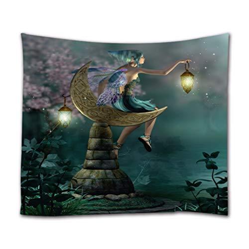 A.Monamour Wandteppiche 3D Fairytale EIN Kleiner Elf-Elf Mit Laterne Sitzt Auf Mondförmigem Stein Fee Night Scene Print Stoff Wandbehang Tapisserie Gardinen Tischdecke Tagesdecke Strandtuch 180X230Cm
