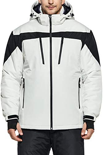 TSLA Men's Ski Jacket Hiking Waterproof Outdoors Windproof Snow Active Hooded Coat, Multipocket(ykj63) - White, Medium