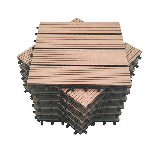 Mocosy 11pcs 1m² WPC Baldosas de suelo entrelazadas para jardín, terraza, balcón, césped, madera, plástico, compuesto, suelo, baldosas (rojo marrón)