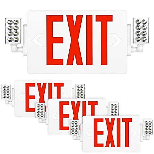 Red Exit Sign, 120-277V Double Face LED Combo Emergency Light with Adjustable Two Head and Backup Battery - 4 Pack