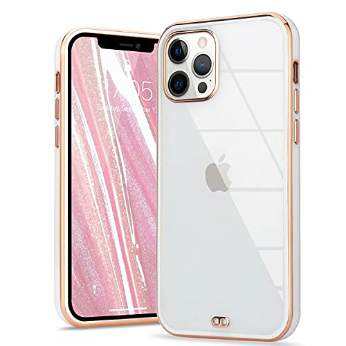 ROSEHUI Crystal Clear Kompatibel mit iPhone 12,iPhone 12 Pro Hülle Transparent Handyhülle Luxus Galvanisierte Rahmen [Vergilbungsfrei und Dünn] Weiche Silikon Durchsichtig Schutzhülle,Weiß