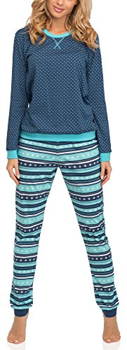 Cornette Pijama para Mujer 671 2016 (Jeans/Turquesa(Emily), L)