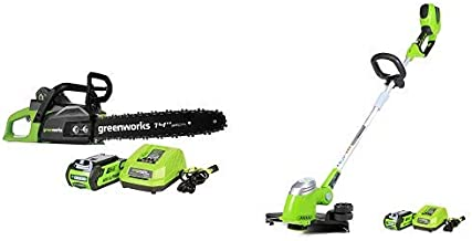 Greenworks 14-Inch 40V Cordless Chainsaw, 2.0 AH Battery Included CS40L210 with 13-Inch 40V Cordless String Trimmer, 2.0 AH Battery Included 21302