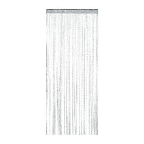 Relaxdays Fadenvorhang Glitzer, 90x245 cm, kürzbar, Tunneldurchzug, für Türen & Fenster, waschbar, Fadengardine, Silber